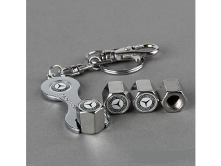 Brand Car Tire Valves Caps 4pcs + Wrench Key chain